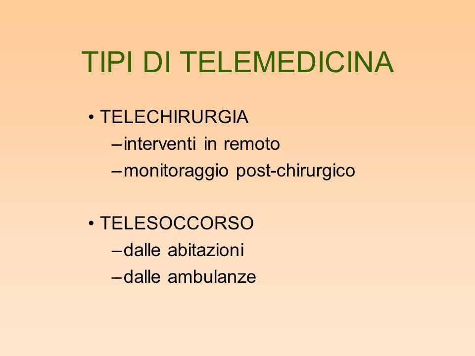 TIPI DI TELEMEDICINA TELECHIRURGIA interventi in remoto