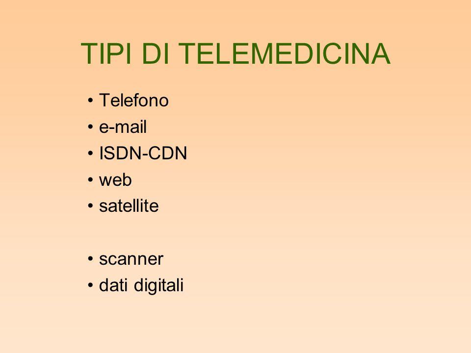 TIPI DI TELEMEDICINA Telefono e-mail ISDN-CDN web satellite scanner