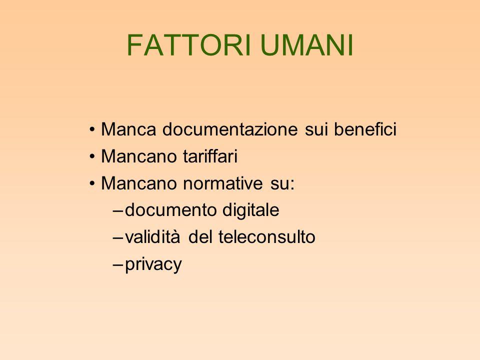 FATTORI UMANI Manca documentazione sui benefici Mancano tariffari