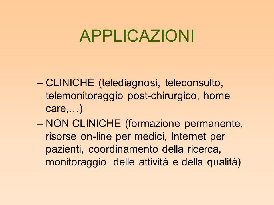 APPLICAZIONI CLINICHE (telediagnosi, teleconsulto, telemonitoraggio post-chirurgico, home care,…)