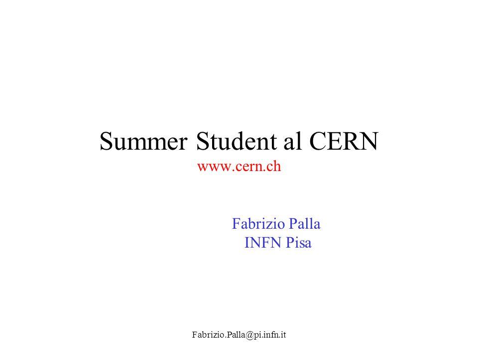 Summer Student al CERN www.cern.ch