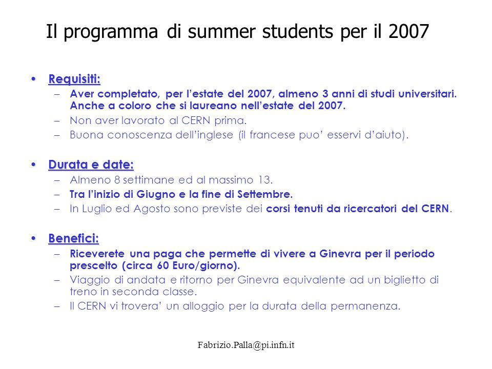 Il programma di summer students per il 2007