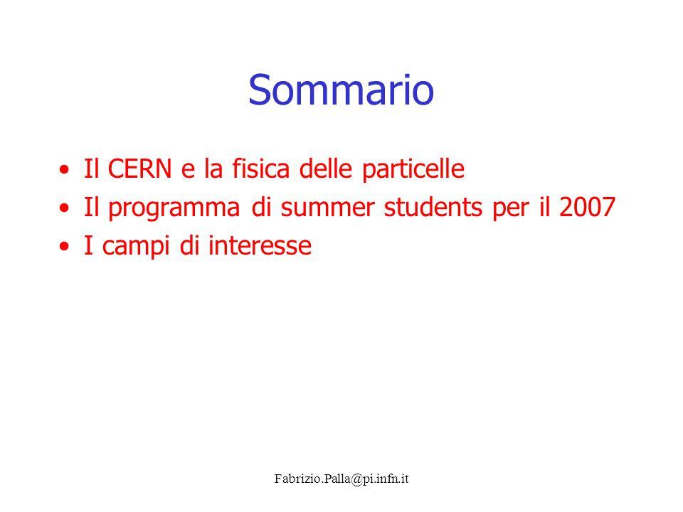 Sommario Il CERN e la fisica delle particelle