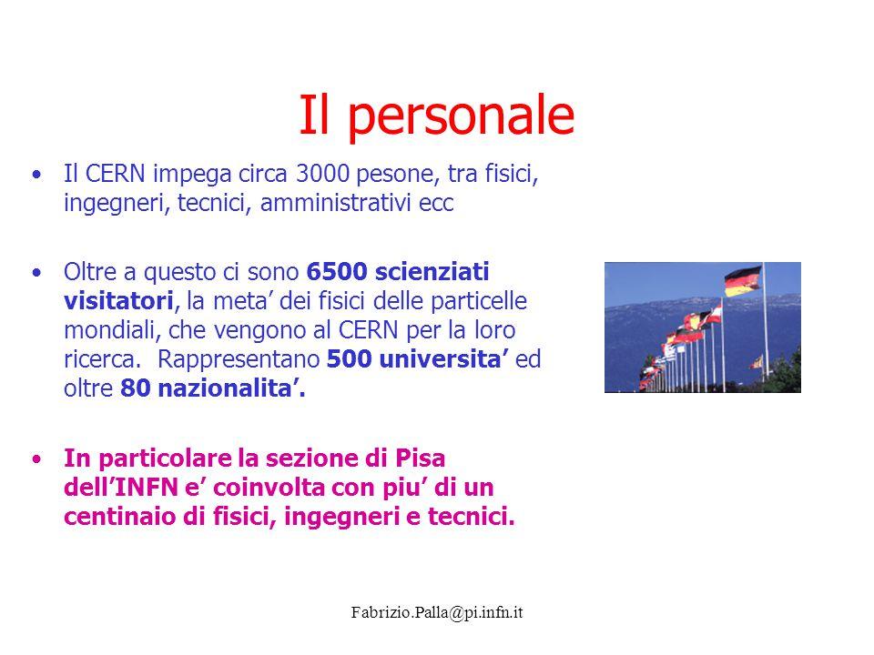 Il personale Il CERN impega circa 3000 pesone, tra fisici, ingegneri, tecnici, amministrativi ecc.