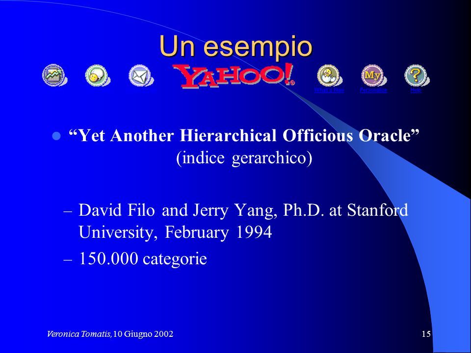 Un esempio Yet Another Hierarchical Officious Oracle (indice gerarchico) David Filo and Jerry Yang, Ph.D. at Stanford University, February 1994.