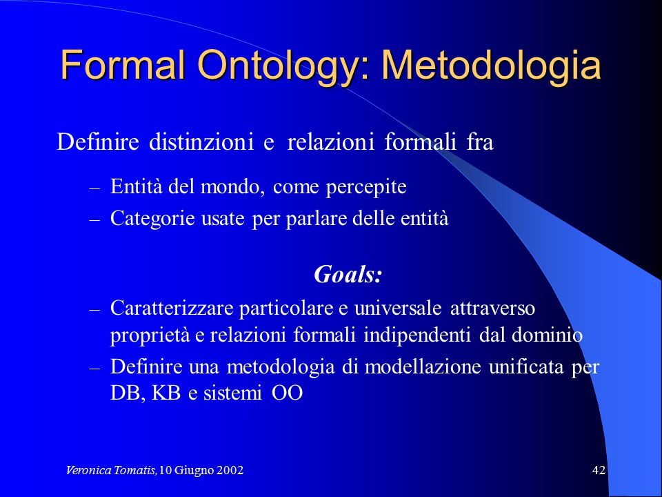 Formal Ontology: Metodologia