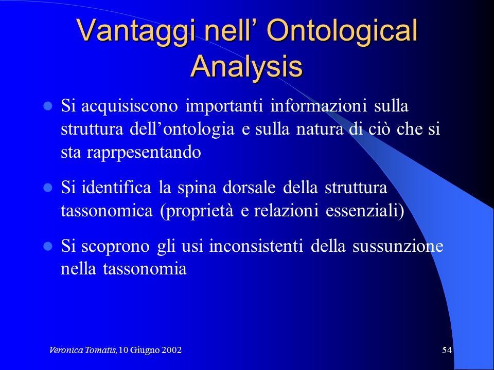 Vantaggi nell' Ontological Analysis
