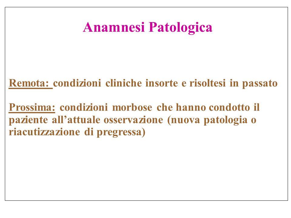 Anamnesi Patologica Remota: condizioni cliniche insorte e risoltesi in passato.
