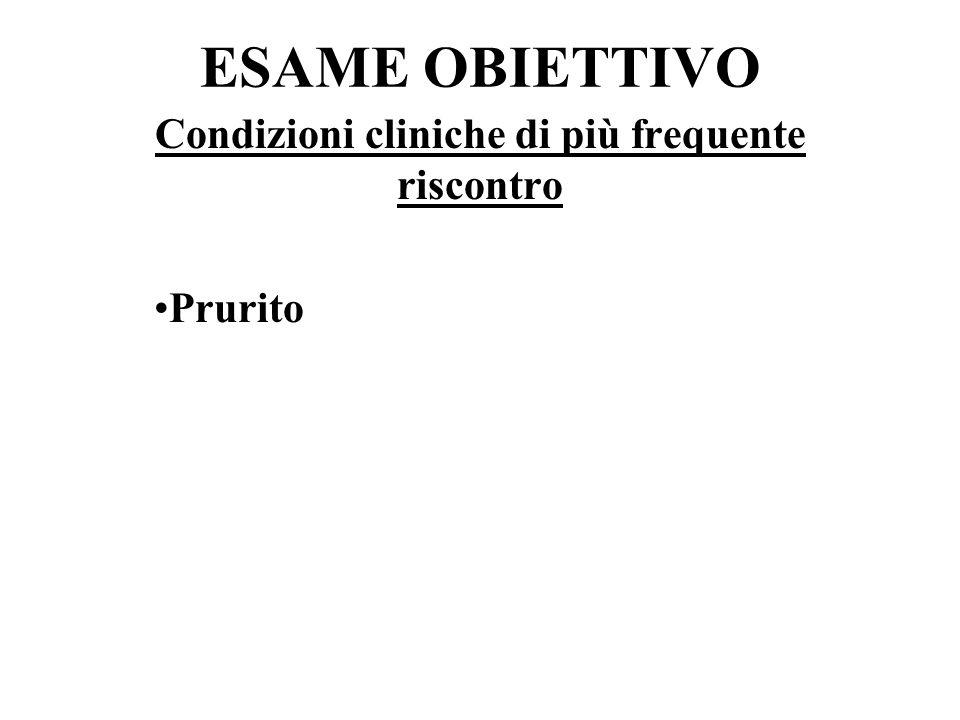 Condizioni cliniche di più frequente riscontro Prurito