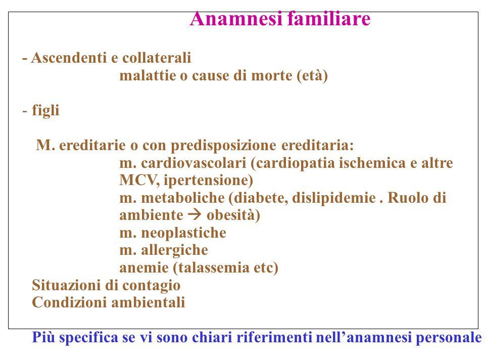 Anamnesi familiare - Ascendenti e collaterali