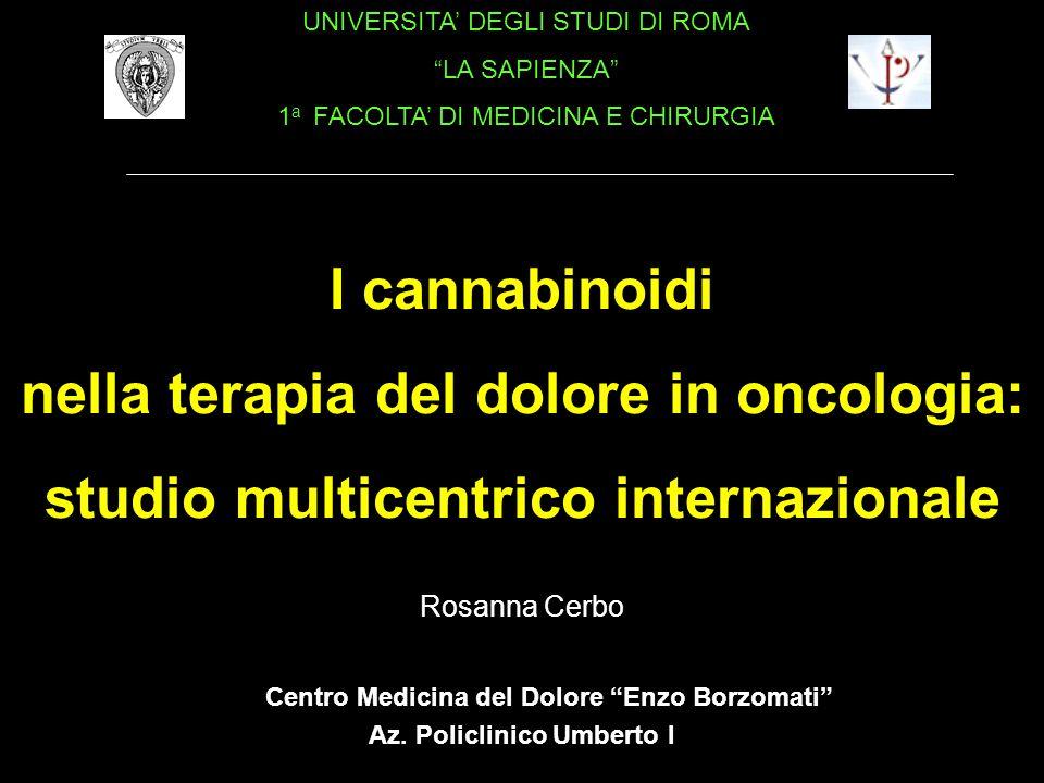 nella terapia del dolore in oncologia: