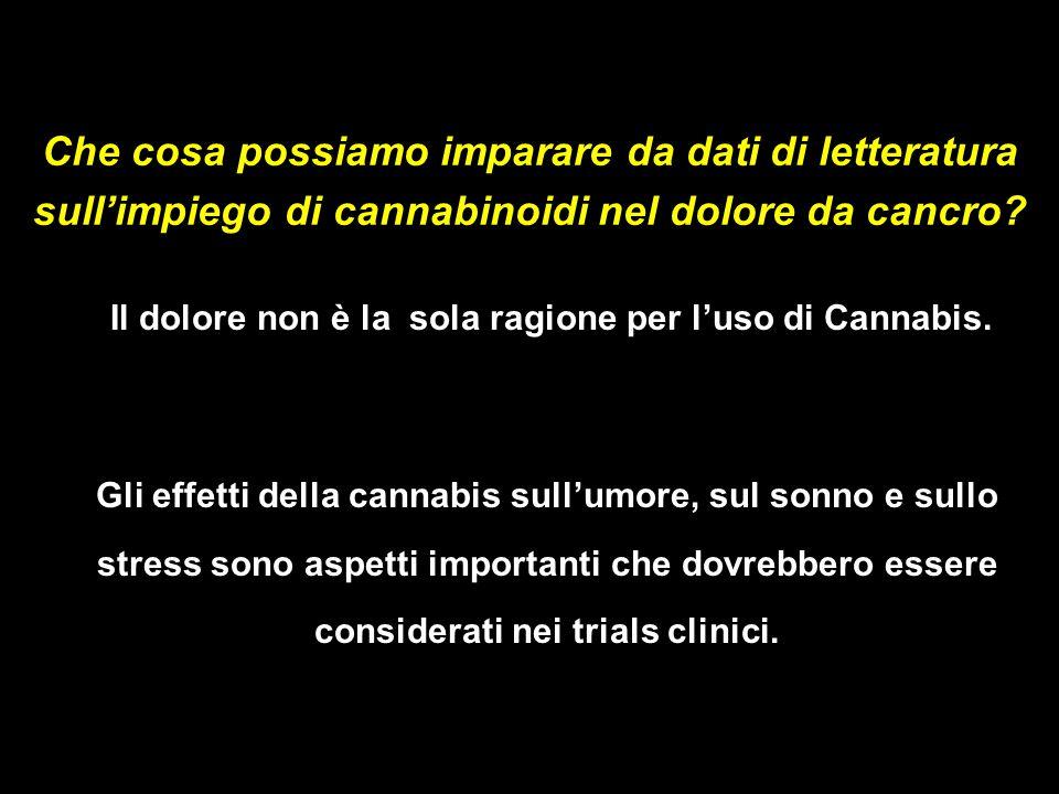 Il dolore non è la sola ragione per l'uso di Cannabis.