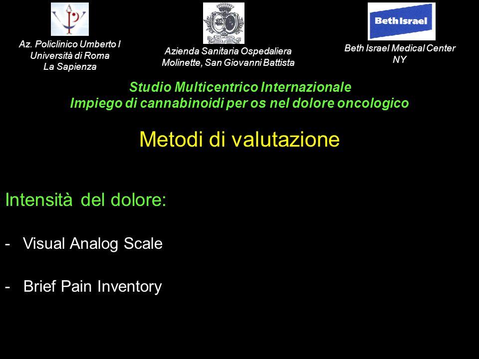 Metodi di valutazione Intensità del dolore: Visual Analog Scale
