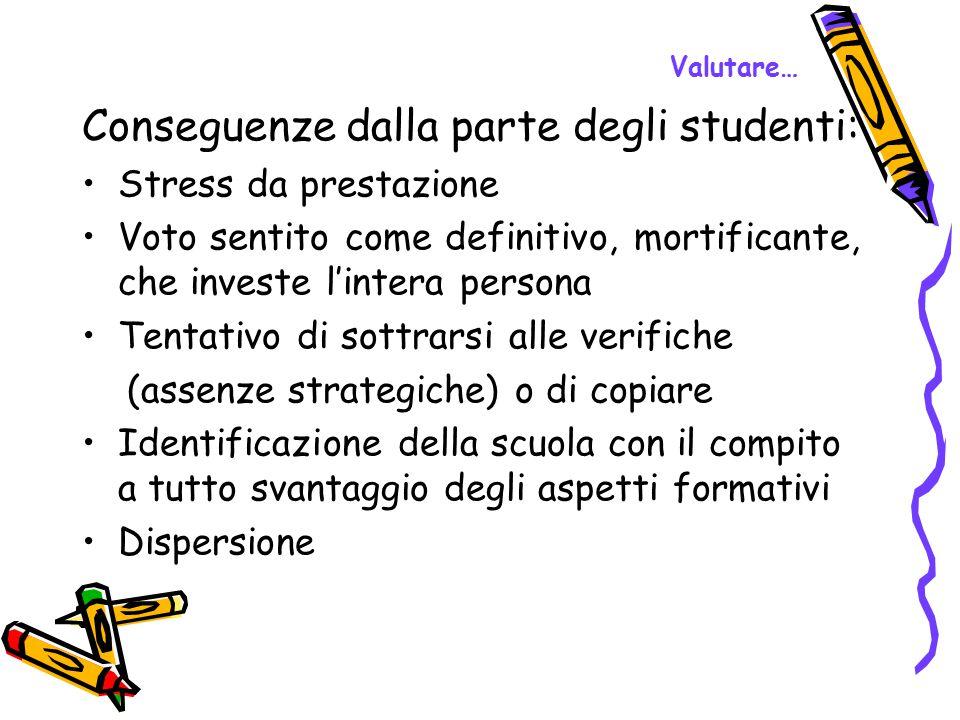 Conseguenze dalla parte degli studenti: