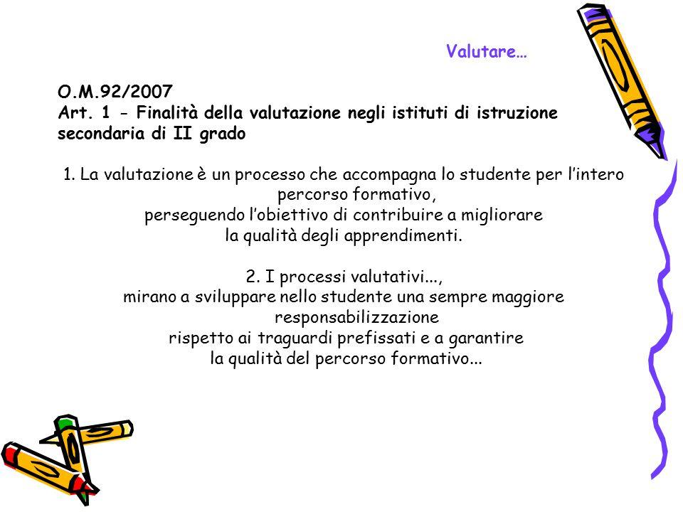 Art. 1 - Finalità della valutazione negli istituti di istruzione