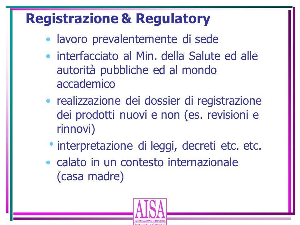 Registrazione & Regulatory