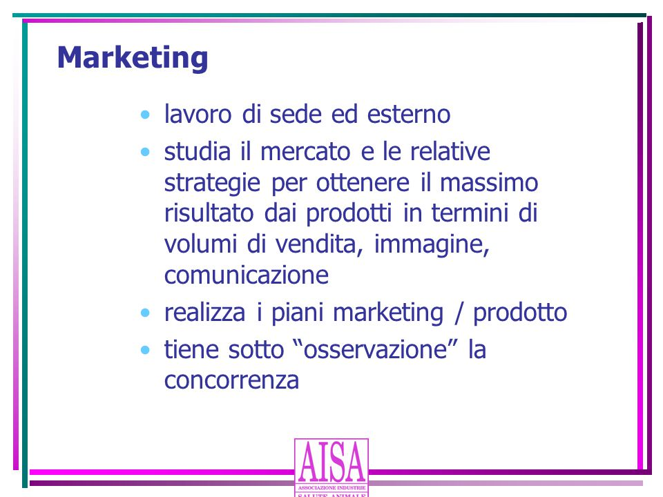 Marketing lavoro di sede ed esterno