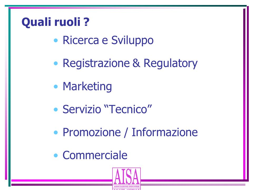 Registrazione & Regulatory Marketing Servizio Tecnico