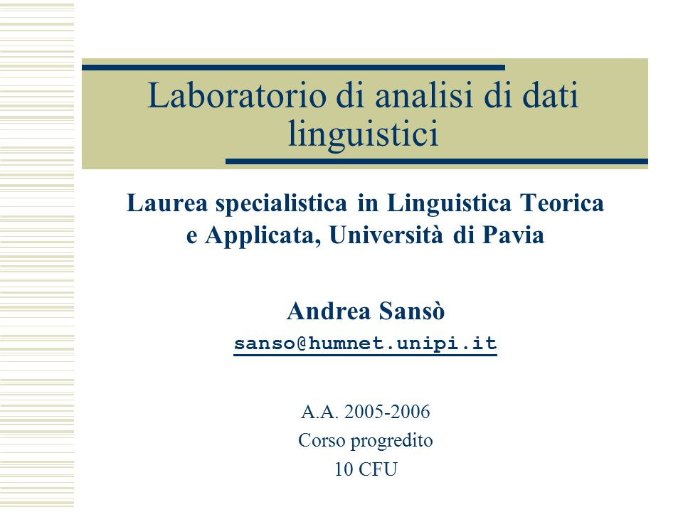Laboratorio di analisi di dati linguistici