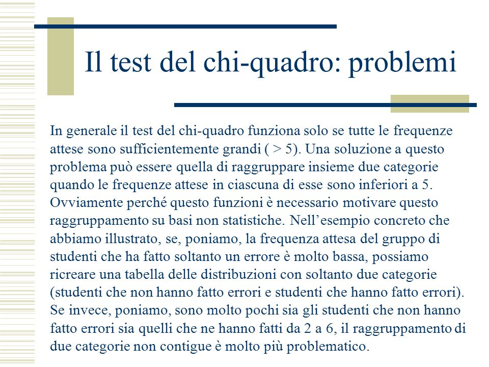 Il test del chi-quadro: problemi