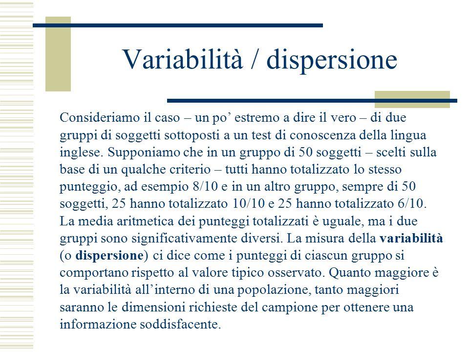 Variabilità / dispersione