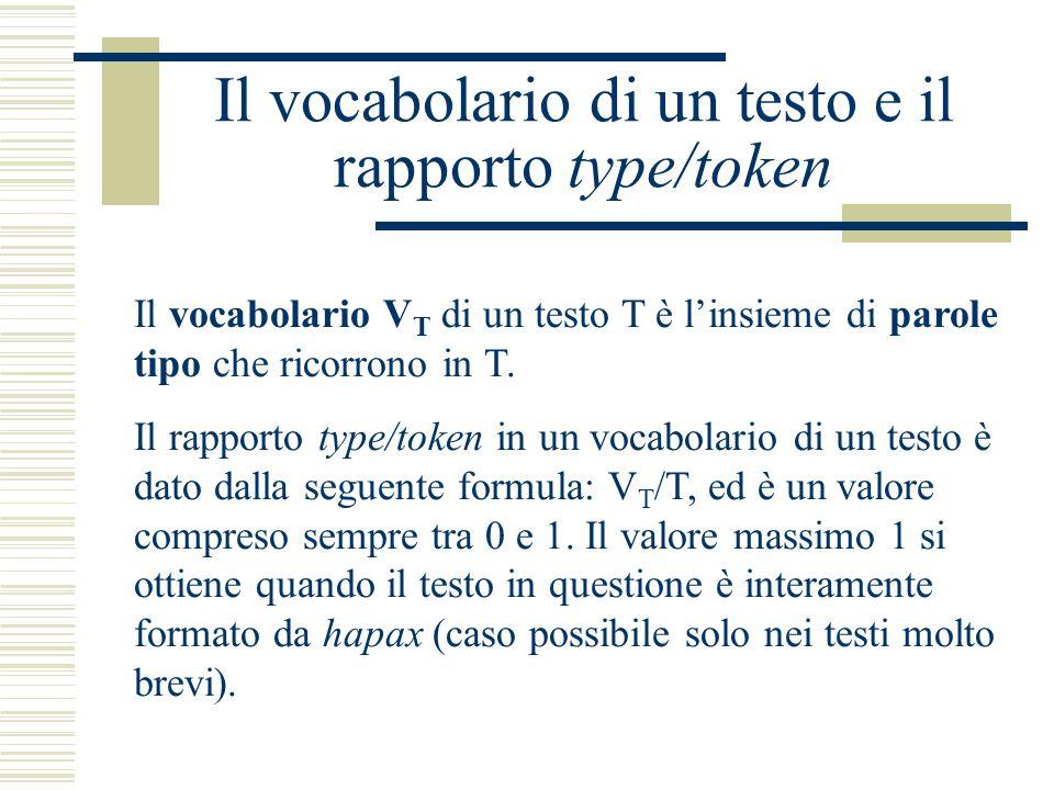 Il vocabolario di un testo e il rapporto type/token