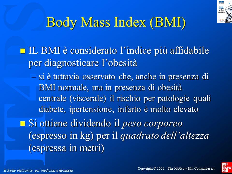Body Mass Index (BMI) IL BMI è considerato l'indice più affidabile per diagnosticare l'obesità.