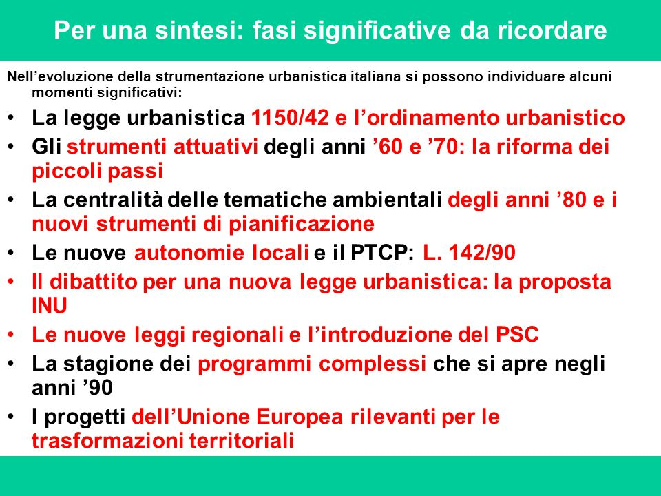 Per una sintesi: fasi significative da ricordare