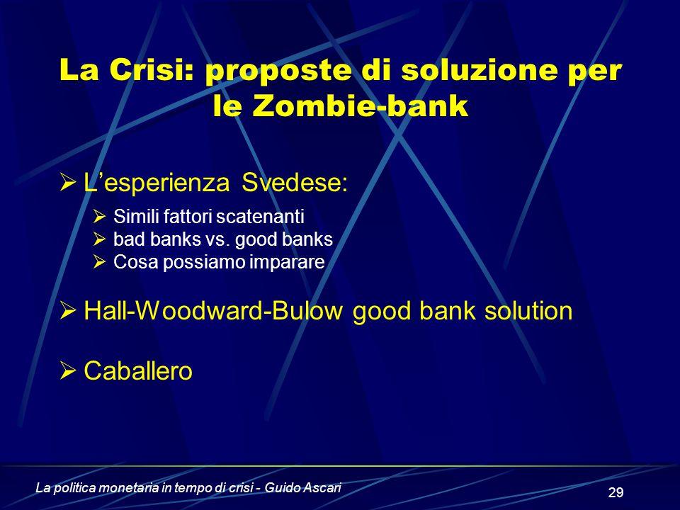 La Crisi: proposte di soluzione per le Zombie-bank