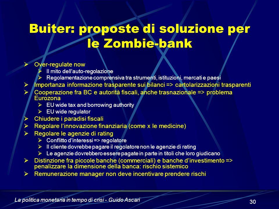 Buiter: proposte di soluzione per le Zombie-bank