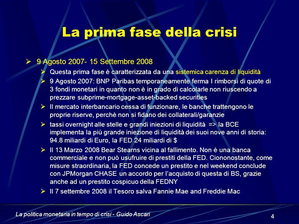 La prima fase della crisi