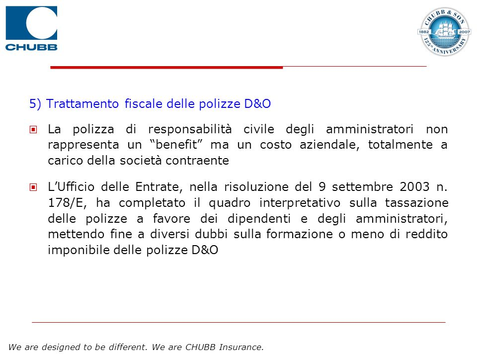5) Trattamento fiscale delle polizze D&O