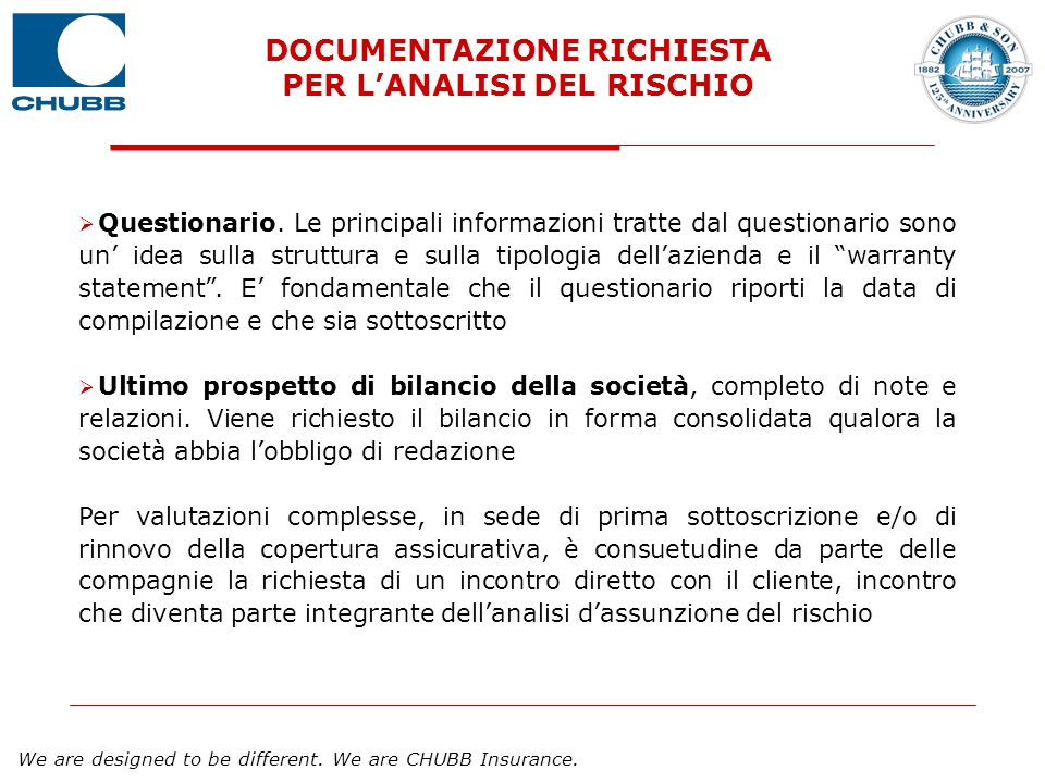 DOCUMENTAZIONE RICHIESTA PER L'ANALISI DEL RISCHIO