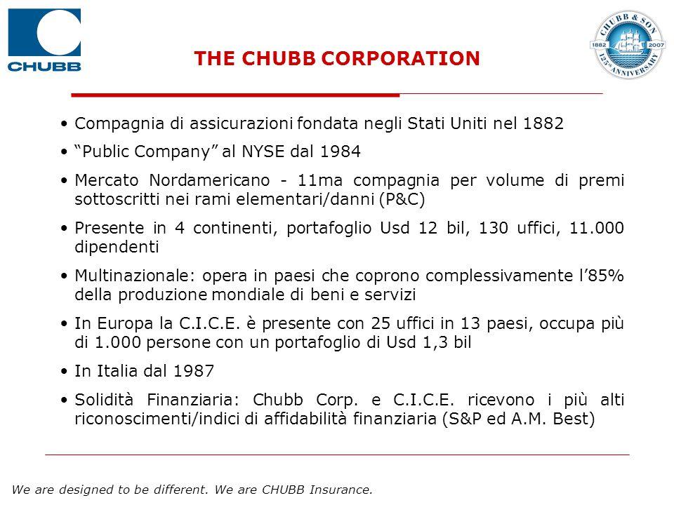 THE CHUBB CORPORATION Compagnia di assicurazioni fondata negli Stati Uniti nel 1882. Public Company al NYSE dal 1984.
