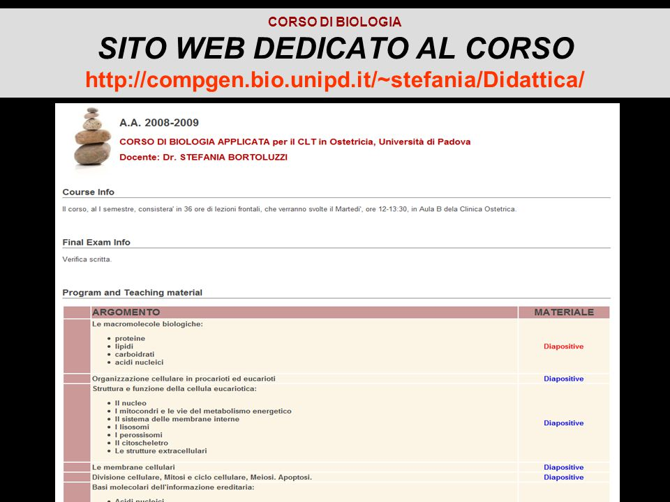CORSO DI BIOLOGIA SITO WEB DEDICATO AL CORSO http://compgen.bio.unipd.it/~stefania/Didattica/