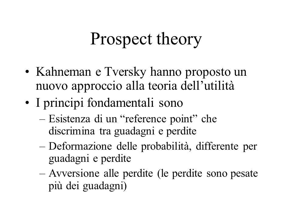 Prospect theory Kahneman e Tversky hanno proposto un nuovo approccio alla teoria dell'utilità. I principi fondamentali sono.