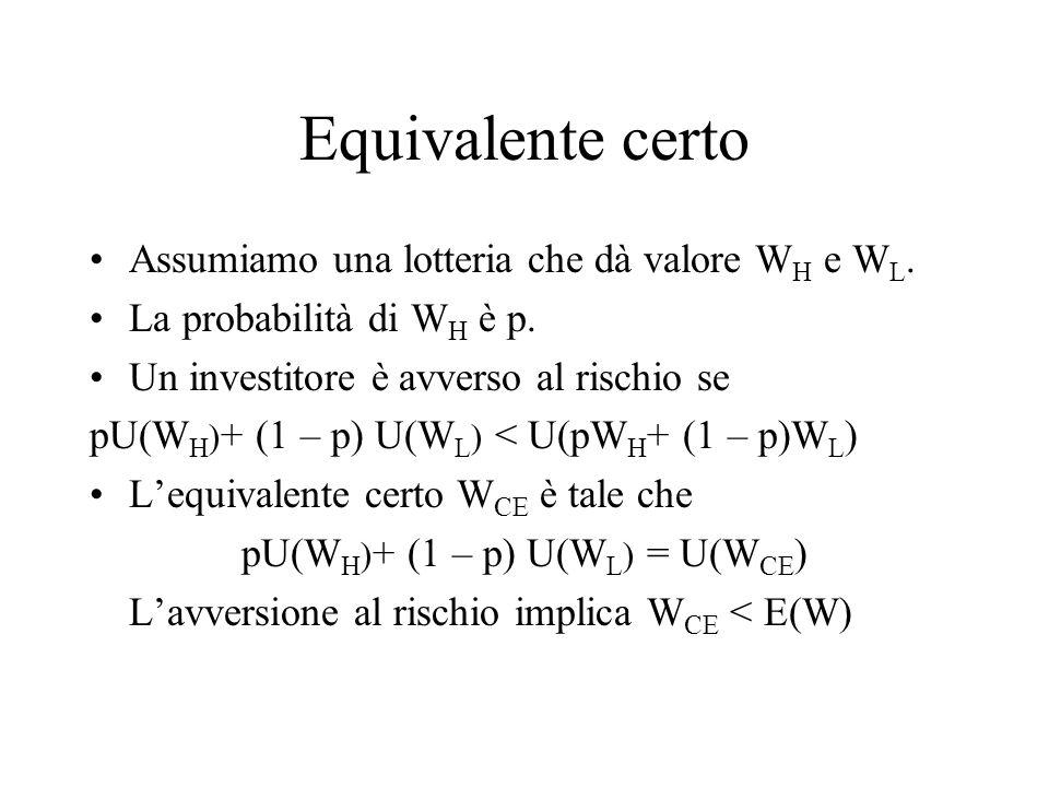 pU(WH)+ (1 – p) U(WL) = U(WCE)