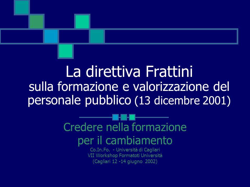 La direttiva Frattini sulla formazione e valorizzazione del personale pubblico (13 dicembre 2001)