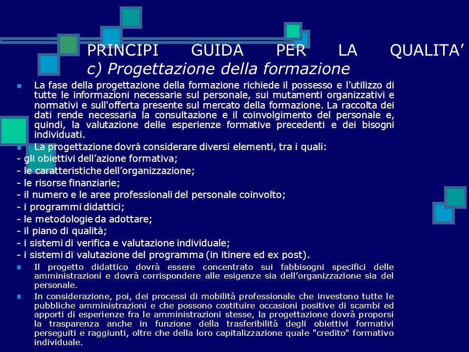 PRINCIPI GUIDA PER LA QUALITA' c) Progettazione della formazione