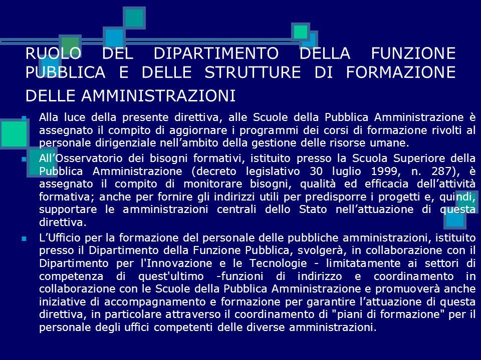 RUOLO DEL DIPARTIMENTO DELLA FUNZIONE PUBBLICA E DELLE STRUTTURE DI FORMAZIONE DELLE AMMINISTRAZIONI