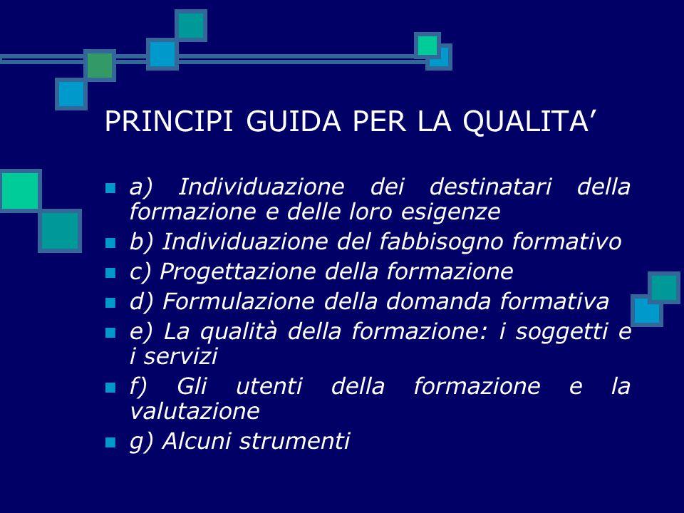 PRINCIPI GUIDA PER LA QUALITA'
