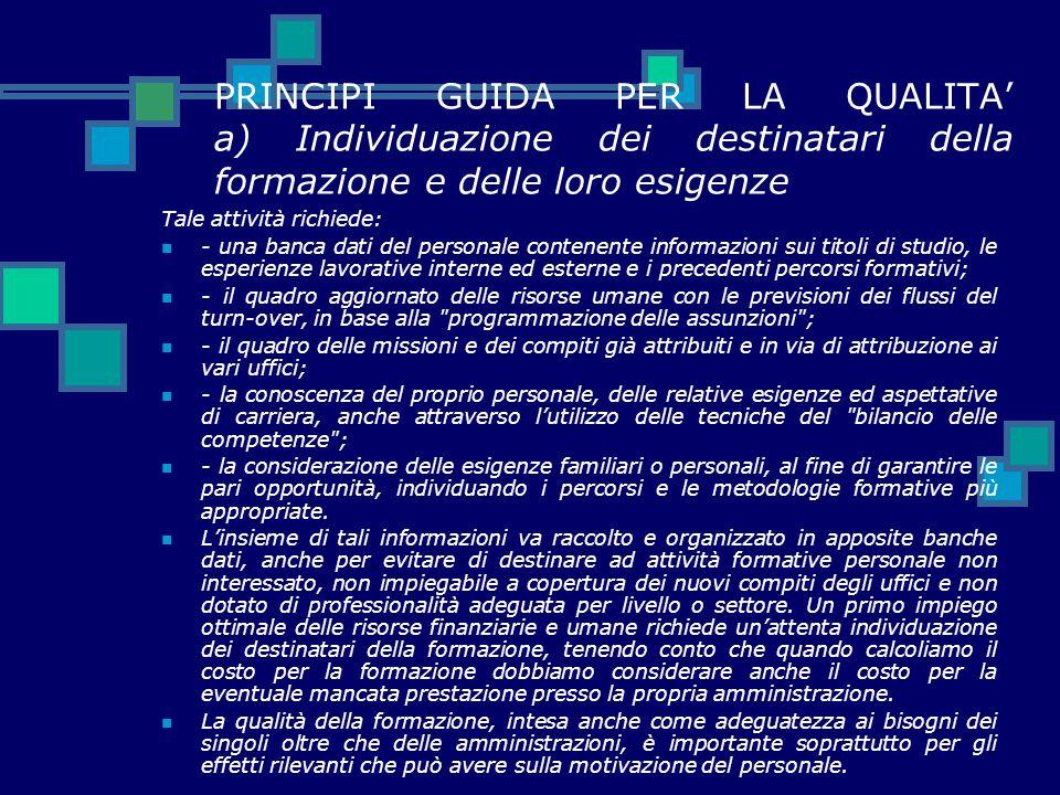 PRINCIPI GUIDA PER LA QUALITA' a) Individuazione dei destinatari della formazione e delle loro esigenze