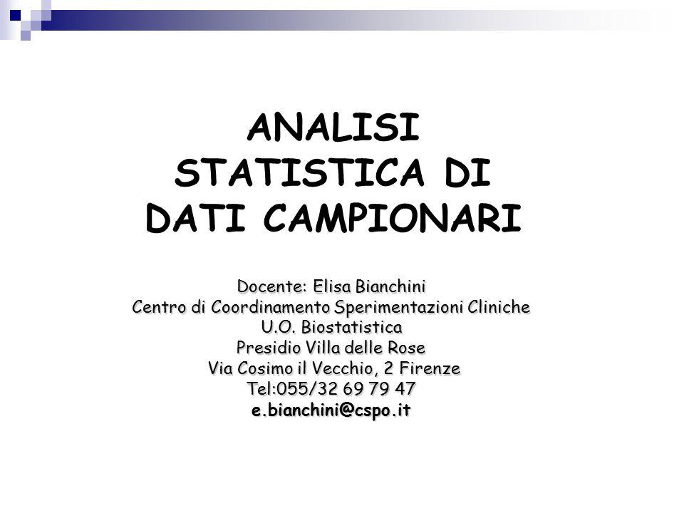 ANALISI STATISTICA DI DATI CAMPIONARI