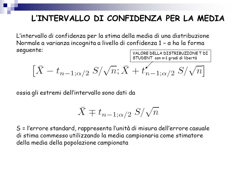 L'INTERVALLO DI CONFIDENZA PER LA MEDIA