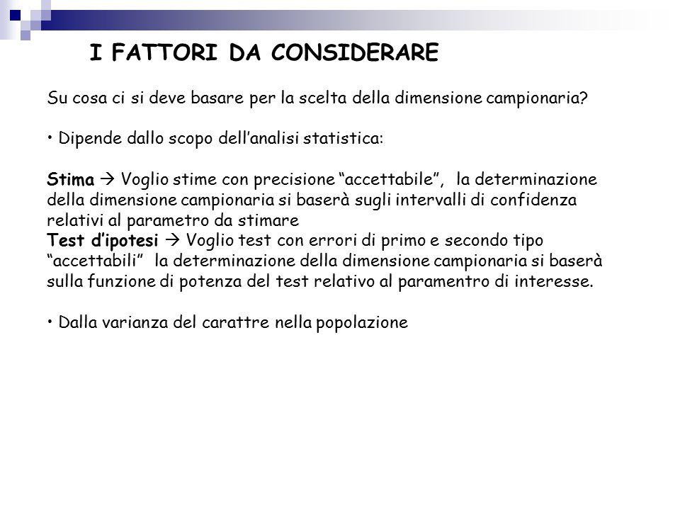 I FATTORI DA CONSIDERARE