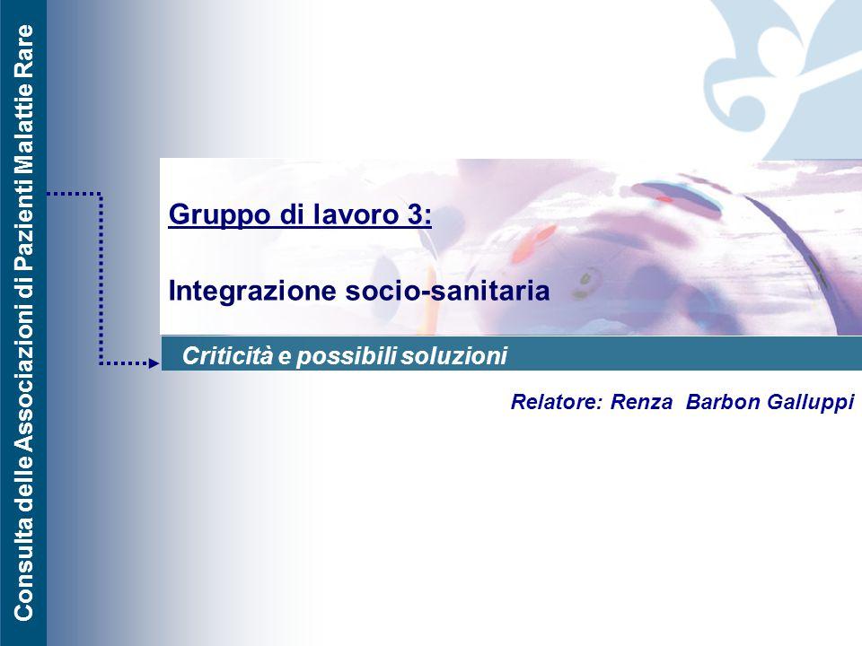 Gruppo di lavoro 3: Integrazione socio-sanitaria