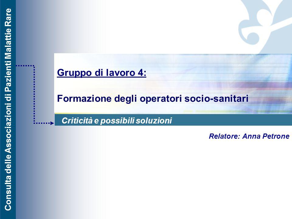 Gruppo di lavoro 4: Formazione degli operatori socio-sanitari