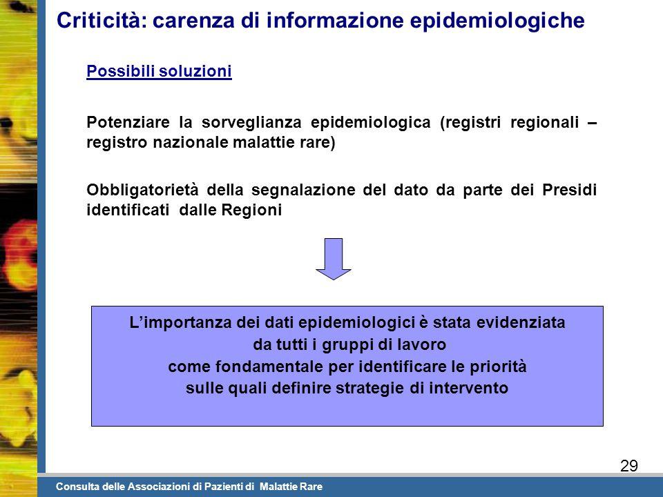 Criticità: carenza di informazione epidemiologiche