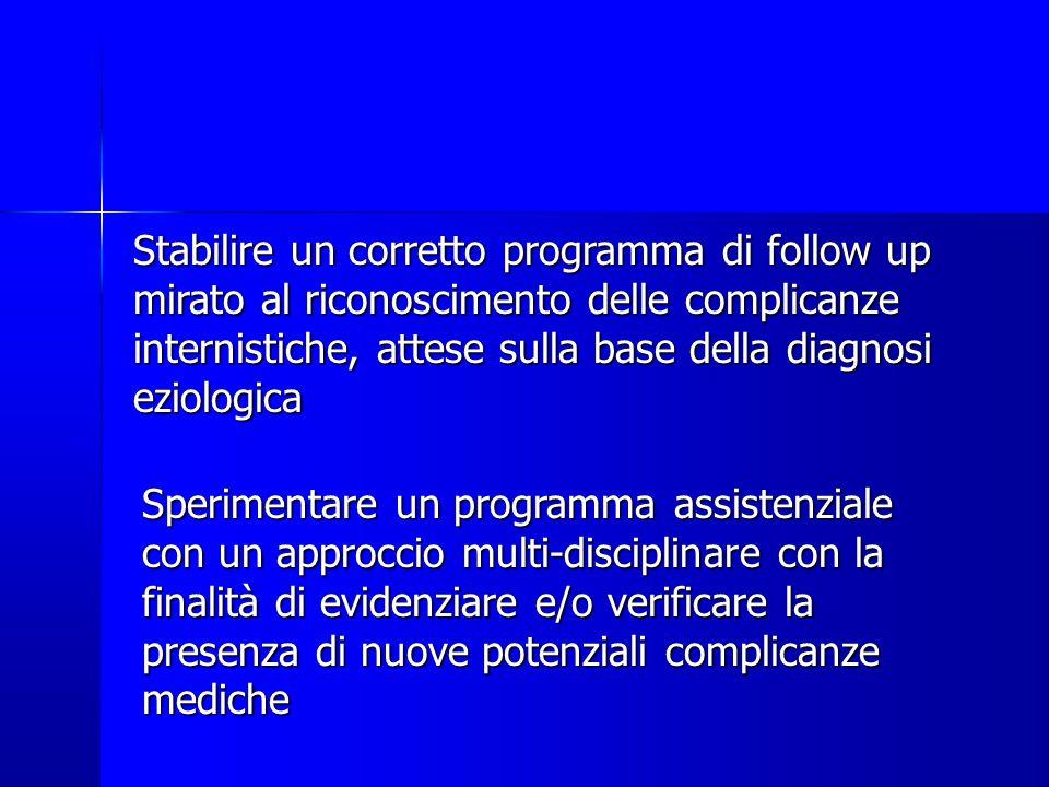 Stabilire un corretto programma di follow up mirato al riconoscimento delle complicanze internistiche, attese sulla base della diagnosi eziologica