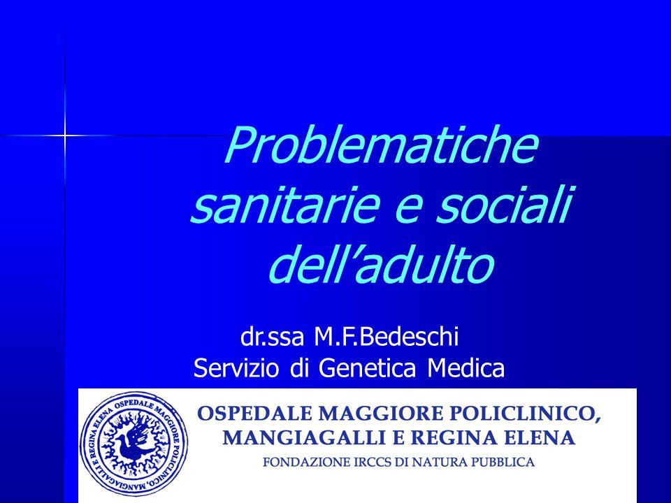 Problematiche sanitarie e sociali dell'adulto